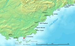 Fort de Brégançon et îlot qui le supporte -  Map of Côte d'Azur, France  Original work by Markus Bernet, background map courtesy of www.demis.nl.