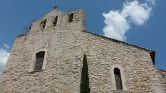 Eglise - Français:   Église de la Transfiguration du Sauveur: haut de la façade; Le Castellet (Var).