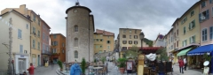 "Chapelle Saint-Blaise dite ""Tour des Templiers"" -  panoramic view of the central plaza of Hyeres"