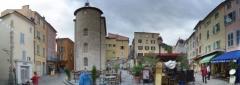 "Chapelle Saint-Blaise dite ""Tour des Templiers"" -  panoramic view of the central plaza of Hyeres"