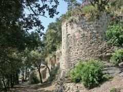 Château -  Portion de la courtine est du château médiéval d'Hyères. Cette tour contrôlait le chemin menant à l'entrée principale du château située sur la photo en arrière-plan.
