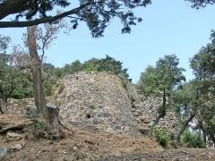 Château -  Château médiéval d'Hyères. Cette tour extérieure à la courtine et flanquant un point fortifié défendait l'accès menant à l'entrée principale du château.