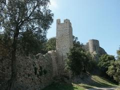 Château -  Courtine et tour de la première enceinte médiévale de la ville d'Hyères (premier plan) à sa jonction avec le château proprement dit dont on aperçoit la tour la plus septentrionale (second plan). L'enceinte ne serait pas antérieure au XIIIe siècle. Vue extra-muros.