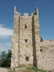 Château -  Tour de la première enceinte médiévale de la ville d'Hyères qui ne serait pas antérieure au XIIIe siècle. Cette tour, photographiée intra-muros, est la seconde, en partant de l'ouest, qui flanquait la courtine venant prendre appui à l'angle nord-est du château proprement dit. Elle est ouverte à la gorge, ce qui empêchait un éventuel assaillant ayant pu franchir la courtine de pouvoir s'en servir pour sa propre défense.