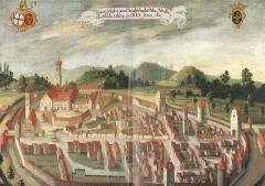 Eglise  et tour attenante - Deutsch: Isny im Allgäu, Stadtansicht von 1737 (Städtische Museen Isny) Gesamtansicht (der Falz in der Mitte ist auf die Scanvorlage zurückzuführen)
