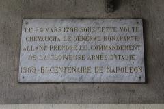 Porte d'Italie - Français:   Plaque indiquant que Napoléon a traversé la porte d\'Italie de Toulon le 24 mars 1796.
