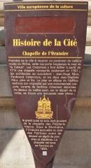 Chapelle de l'Oratoire - Deutsch: Infotafel an der Chapelle se l'Oratoire