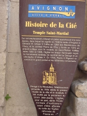 Eglise Saint-Martial, devenue Temple Protestant - Français:   Plaquette explicative Temple Saint-Martial