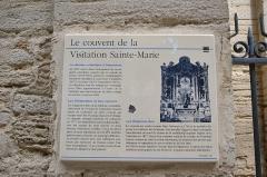 Ancien couvent de la Visitation Sainte-Marie - Français:   Panneau touristique de l\'ancien couvent de la visitation