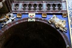 Eglise paroissiale Notre-Dame-des-Anges - Français:   Collégiale Notre-Dame des anges- Sculptures de Jean Péru (1650-1723) représentant des figures allégoriques: à droite la foi chrétienne.