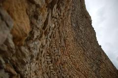 Château (restes du) -  Forteresse de Mornas dans le Vaucluse. Partie de muraille appareillée en arête-de-poisson