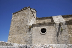 Eglise médiévale Notre-Dame-d'Alydon -  Détail d'une église d'Oppède-le-Vieux, Vaucluse, France