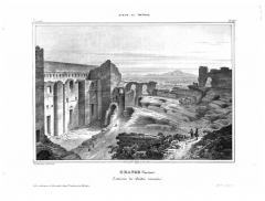 Amphithéâtre (temple dans un hémicyle précédé d'un nymphée) - Album du Dauphiné - tome IV, litographie d'Orange (Vaucluse), intérieur du théatre romain