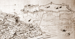 Colline Saint-Eutrope - English: A view of the Saint Eutrope's hille drawn in the XVIIth century.
