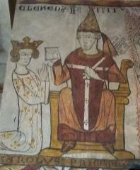 Tour Ferrande - Français:   Le Pape Clément IV et Charles d\'Anjou (Fresque de la Tour Ferrande à Pernes les Fontaines, Vaucluse, France)