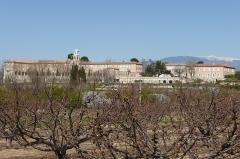 Etablissement conventuel  dit Sainte-Garde-des-Champs - Français:   Vue depuis Saint-Didier sur le versant sud du Mont Ventoux à droite 29 mars 2008.