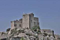 Château (ruines) et rocher qui les porte - Français:   chateau sur son pic rocheux