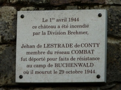 Château de Badefols-d'Ans - Français:   Plaque apposée sur le mur du château de Badefols, Badefols-d\'Ans, Dordogne, France