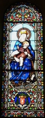 Eglise Notre-Dame de l'Assomption - Français:   Représentation de la Vierge à l\'enfant, vitrail de l\'église Notre-Dame de l\'Assomption de Cause, Cause-de-Clérans, Dordogne, France.