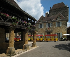 Halle - English: Village of Domme, situated in the Département Dordogne/France - old market hall and the govenor's house in the background.
