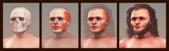Abri de Cro-Magnon - English:   Forensic facial reconstruction of a Cro-Magnon man, usgin a cast of skull.