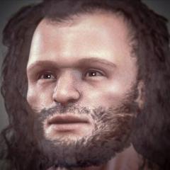 Abri de Cro-Magnon - English:   Forensic facial reconstruction of a Cro-Magnon man.