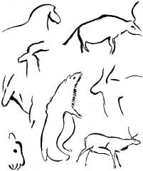 Grotte de Font-de-Gaume (grotte du Sourd) - English: Primitive painted outlines of animals from the cavern walls of Font-de-Gaume, Dordogne, attributed by Breuil to the early Aurignacian. The outlines represent the horse, ibex, cave-bear, wild cattle, and reindeer. After Breuil.