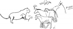 Grotte de Font-de-Gaume (grotte du Sourd) - English: Outlines of a lioness and a small group of horses of the Celtic or Arab type, a delicate wall engraving in the Diverticule final of the cavern of Font-de-Gaume. After Breuil.
