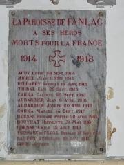 Eglise de la Décollation de Saint-Jean-Baptiste - Français:   Mémorial dans l\'église de Fanlac, Dordogne, France.