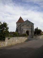 Eglise - English:   The romanesque village church of Les Graulges, Dordogne, France.