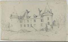Château de Beauvais - Français:   Château de Beauvais, Lussas-et-Nontronneau, Dordogne en 1843 - dessin: mine de plomb.