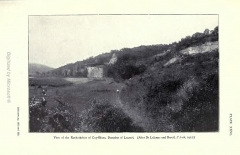 Abri du Cap-Blanc à Laussel - English: View of the Rock-shelter of Cap-Blanc, Domaine de Laussel. (After Dr Lalanne and Breuil, L'Anth, 1912.)  [Between pp. 232 and 233.