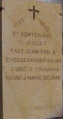 Eglise Saint-Dominique - Français:   Monpazier - Eglise Saint-Dominique - Plaque commémorative de la fondation de l\'église