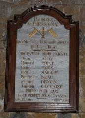 Eglise Notre-Dame de la Nativité - Français:   Mémorial dans l\'église Notre-Dame-de-la-Nativité, Pressignac-Vicq, Dordogne, France.