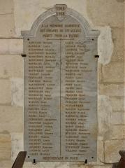 Eglise Sainte-Eulalie - Français:   Mémorial dans l\'église de Saint-Aulaye, Saint Aulaye-Puymangou, Dordogne, France.