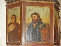 Eglise Sainte-Innocente - Français:   Panneaux de la chaire, église de Sainte-Innocence, Dordogne, France. À droite, représentation de saint Luc.