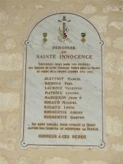 Eglise Sainte-Innocente - Français:   Mémorial dans l\'église de Sainte-Innocence, Dordogne, France.