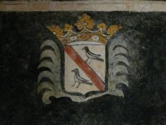 Eglise Saint-Ours - Français:   Armoiries peintes dans l\'église Saint-Ours, Sainte-Orse, Dordogne, France