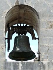 Eglise Saint-Ours - Français:   La plus grosse des trois cloches de l\'église Saint-Ours, Sainte-Orse, Dordogne, France