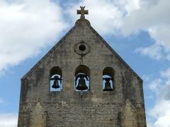 Eglise Saint-Ours - Français:   Le clocher-mur de l\'église Saint-Ours, Sainte-Orse, Dordogne, France