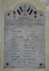 Eglise Saint-Vincent - Français:   Mémorial dans l\'église Saint-Vincent, Saint-Vincent-Jalmoutiers, Dordogne, France.