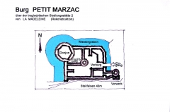 """Gisement préhistorique de la Madeleine - Deutsch: Archäologischer Fundplatz """"La Madeleine"""" in Frankreich: Rekonstruktionszeichnung der Burg Petit Marzac, Vésère"""