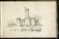 Château - Français:   Le château de Montbrun à Dournazac, Haute-Vienne en 1858 - dessin: mine de plomb.