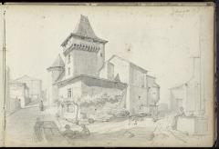 Château - Français:   Le château de Varaignes en 1865 - dessin: mine de plomb.