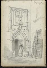 Château - Français:   Le portail gothique du château de Varaigne en 1865 - dessin: mine de plomb.
