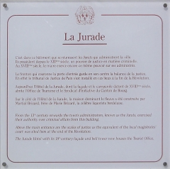 Hôtel de ville - English: Bourg (Gironde) La Jurade, plaquette explicative