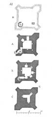Château de Curton -  ... Vers le même temps, c'est-à-dire de 1320 à 1325, était élevée, au château de Curton, en Guyenne (arrondissement de Libourne), une tour-réduit dont le plan présente certaines particularités remarquables. Ce château était plutôt défendu par sa position et son double fossé que par ses ouvrages; seule, la tour principale avait de l'importance. Cette tour, dont la figure 53 présente les plans, contenait cinq étages et un cachot, tous voûtés en berceaux chevauchés. La seule entrée b, dans la tour, était pratiquée du logis voisin au niveau du second étage A. Par l'escalier à vis on descendait à l'étage au-dessous B, percé de deux meurtrières. Par une trappe c on descendait dans le cachot C, composé de deux étroites galeries se coupant à angle droit et contenant un siége d'aisances. L'escalier à vis montait du second étage A aux trois salles supérieures, bâties sur le même plan, et à la plate-forme D, munie d'un crénelage et de mâchicoulis. Les contre-forts qui épaulent les quatre angles n'avaient d'autre fonction que de donner des flanquements, car les murs de la tour sont assez épais pour n'avoir pas besoin de ces appendices ...