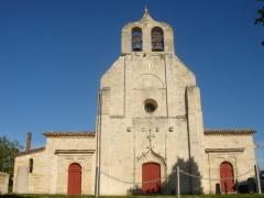 Eglise Saint-Alexis -  photographie de la façade de l'église St Alexi à Sainte-Terre en Gironde. France.