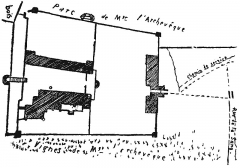 Ancien château - Deutsch: Skizzierter Lageplan des Schlosses Lormont mit dem Baubestand vor der Französischen Revolution