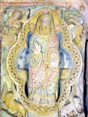 Ancienne église prieurale - Français:   Sculpture polychrome du portail de la vieille église de Mimizan (Landes, France). Photo prise par Jibi44 en juillet 2006